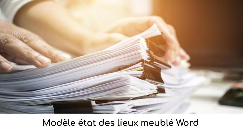 Modèle état des lieux meublé Word